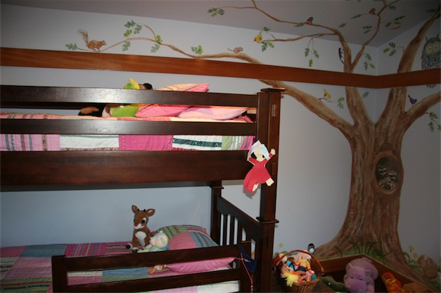 My oldest daughter sleeps in the top bunk. She likes it because she is up in the tree.