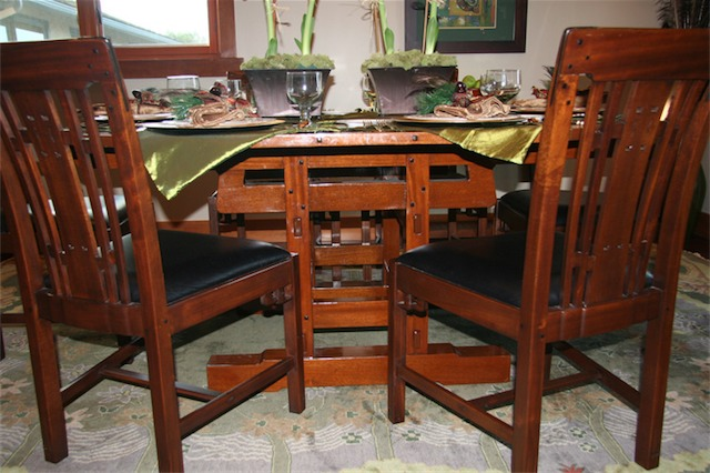 Dave Barlow's craftsmanship is second to none as can be seen in this table. It is made of Honduran mahogany with ebony plugs. The chairs are Blacker House dining chair replicas made by Stickley.