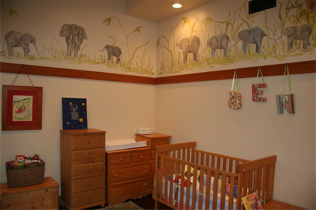 A view of most of the mural. When my son is older, he is going to get a bed that looks like the Jungle Cruise boat at Disneyland. It will fit in perfectly.
