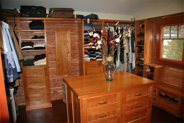 This is a custom laminate closet. It creates a lot of extra room
