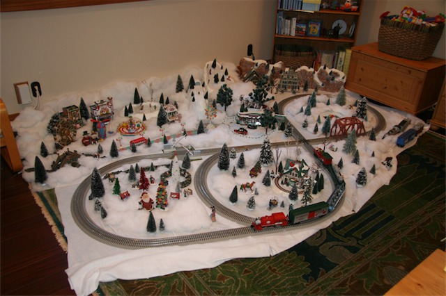 My father-in-law spent 3 days setting up this train set. It really was one of the highlights of the Homes Tour.