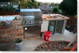 Appliances are installed in barbecue island