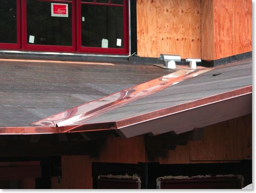Copper Flashing Installed on Roof