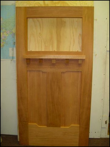 Craftsman, mahogany front door in the mill and raw