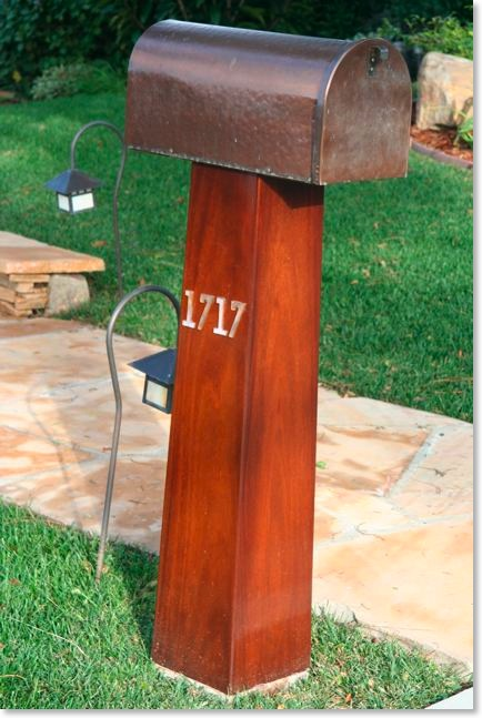 Craftsman mahogany, copper, and glass mailbox