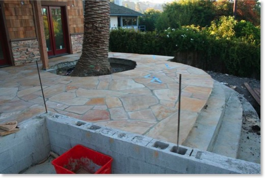 Golden Bucksking Flagstone has been installed on the patio