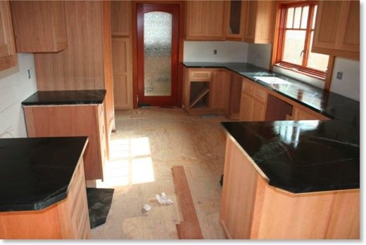 Craftsman kitchen with freshly oiled soapstone