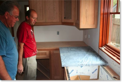 These guys drove in from Arizona, and within 2 days measured, fabricated, and installed the soapstone countertops.