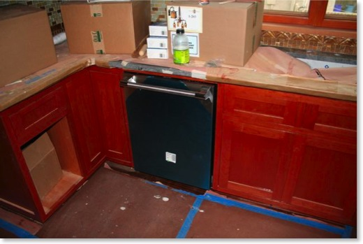 The kitchen cabinets were stained with Jel&#39;d Stain Red Mahogany.