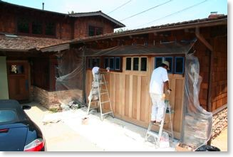 Staining the mahogany Craftsman garage door