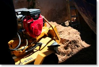 The stump grinder was brought in to remove the stump at least 1 foot below the grade.