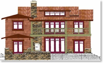 Artist Rendition - Rear of Craftsman house